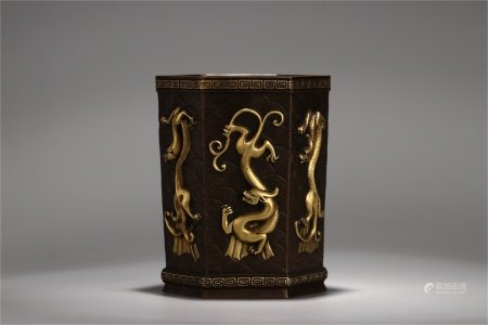 A Chinese Gilt Bronze Brush Pot