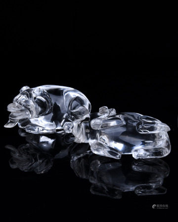 A Pair of Chinese Carved Rock Crystal Decorations