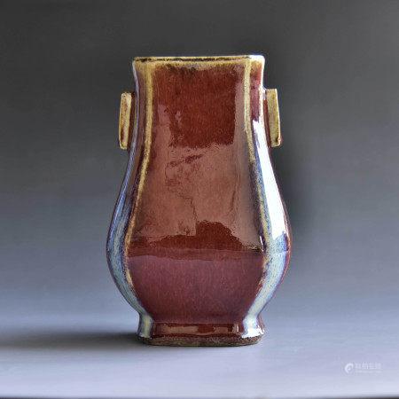 清 窑变釉双耳瓶