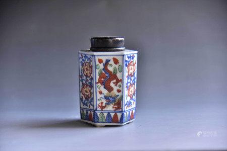 明 五彩龙纹六面茶叶罐