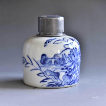 清 青花鸳鸯茶叶罐锡口