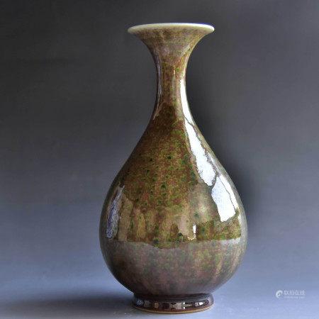 清 豇豆红玉壶春瓶