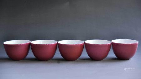 清 胭脂红釉杯