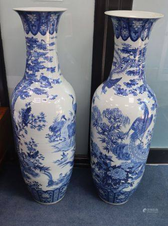 A pair of large Chinese blue and white floor vases, H.148cm