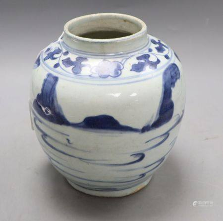 A Chinese Late Ming blue and white 'landscape' jar, height 19cm, with certificate of authenticity,