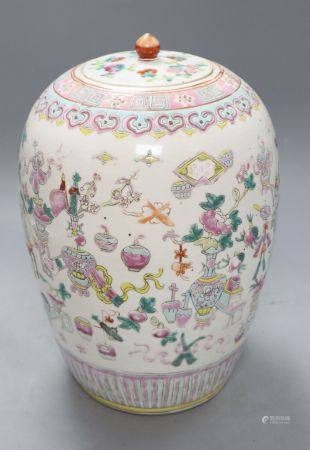 A Chinese famille rose 'Hundred Antiques' jar and cover