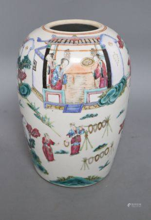 A Chinese famille rose jar, height 30cm