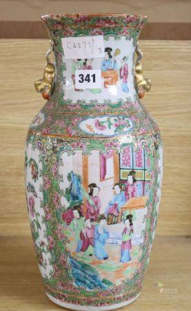 A 19th century Canton famille rose vase, height 36cm