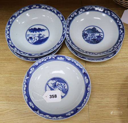 A set of six Chinese blue and white footed bowls, c.1900, diameter 20cm