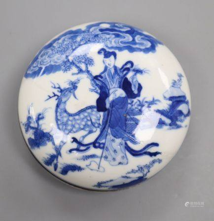 A Chinese blue and white circular seal paste box, Qianlong six character seal mark and probably of