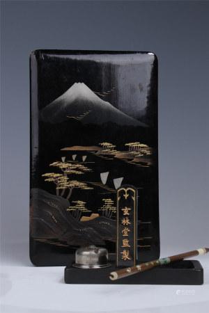 昭和早期 日本傳統手工藝品:蒔繪文房用具/套