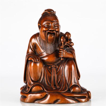 清 黄杨木雕寿星像