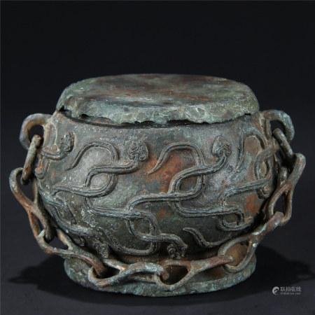 汉 铜螭龙纹锣鼓提链盖炉