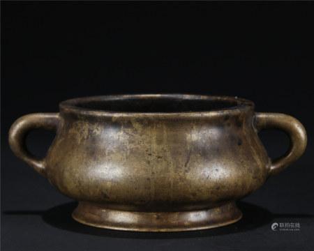 清早期 铜蚰龙耳炉
