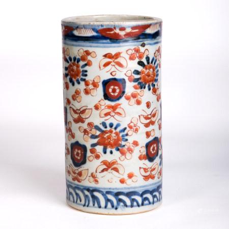 清 青花礬紅花蝶紋筆筒