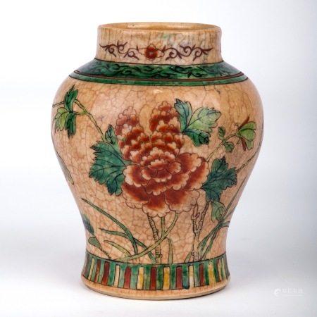 哥釉地花卉紋小罐