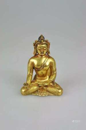 Buddha im Lotussitz, wohl Bhutan um 1900, vermutlich feuervergoldete Bronze, in der Art des