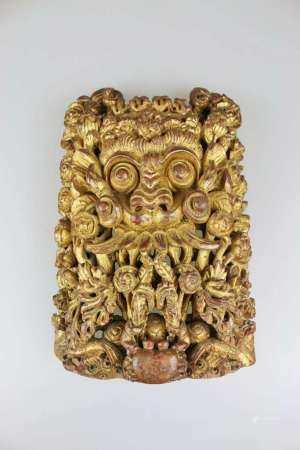 Holzrelief, Dämonengesicht, wohl Bali/ Lomok, 19./20. Jh., vermutlich Darstellung des Meeresgottes