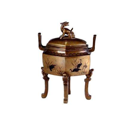 Japanese Meiji Period Nogawa Inlaid Bronze Censer