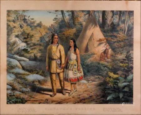 Currier & Ives Louis Framed Colored Lithograph 1858 Hiawatha