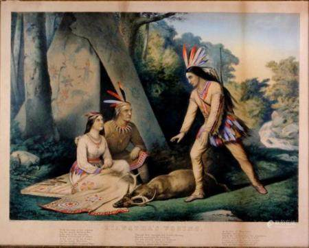 Currier & Ives Framed Lithograph 1860, Hiawatha's Wooing