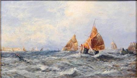 Anonymous 19c. Impressionist Oil on Board Nautical Seascape