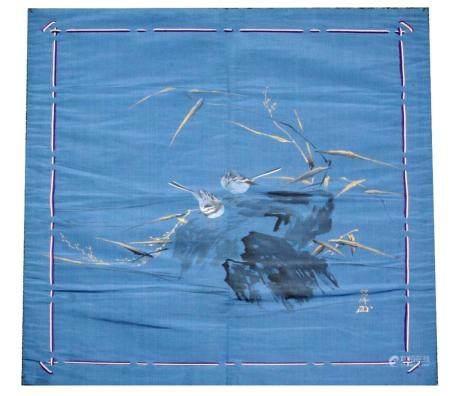 Japanese Painted Silk Tachibana Family Fukusa