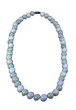 Lavender and Green Jadeite Bead Necklace