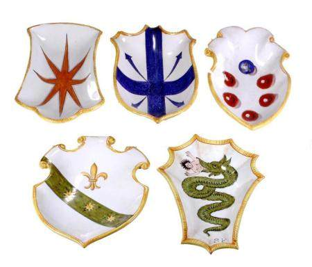 Five Italian 20th C. Maiolica Coats of Arms