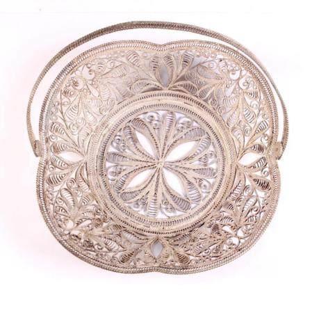 Silver Filigree Shallow Basket