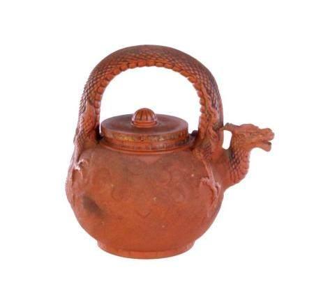 Japanese Meiji Period Tokaname Redware Dragon Handled Tea Po