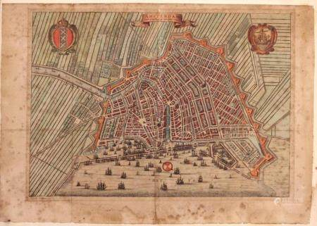 17c. Hand Colored Chalcography of the City of Amsterdam