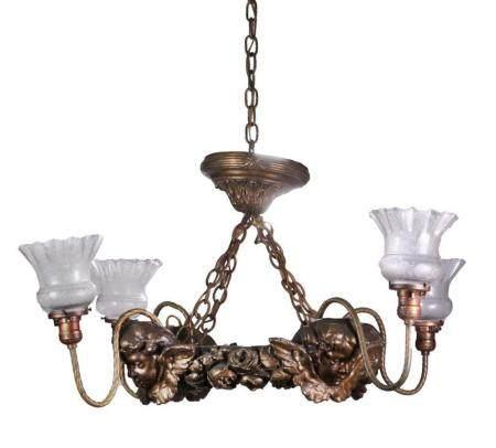 Bronzed Plaster Four Socket Cherub Chandelier