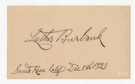 Luther Burbank Signed Card, Father of McDonald's French Fry