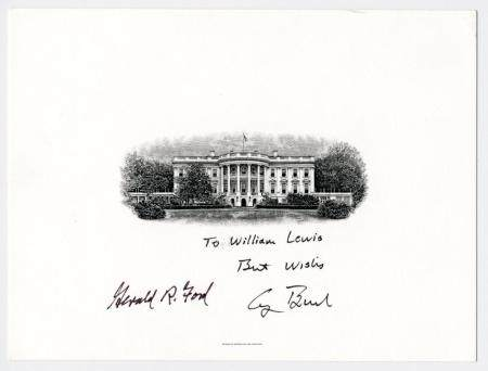 Gerald Ford & George H.W. Bush Signed BEP White House Print