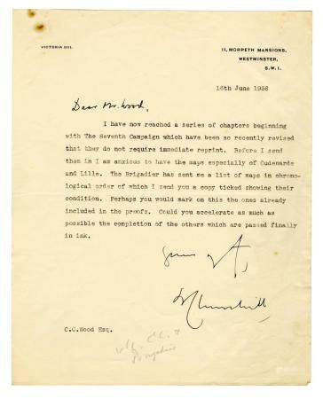 Winston Churchill Inquires About Maps for His Biography of t