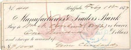 Grover Cleveland Scarce Signed Check, Paid to His Older Brot