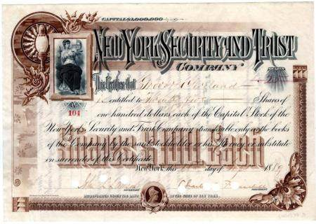 Lovely Stock Certificate Issued to Grover Cleveland and Sign