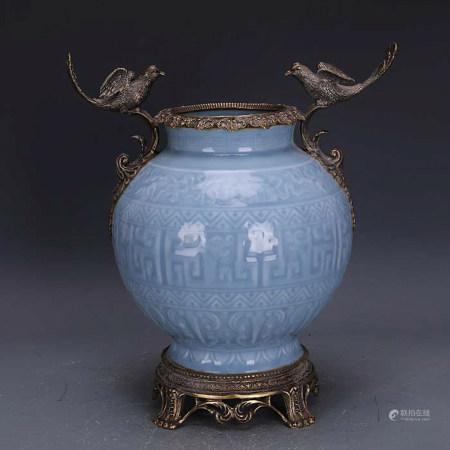 Chinese Blue Glazed Porcelain Vase Copper Inlaid