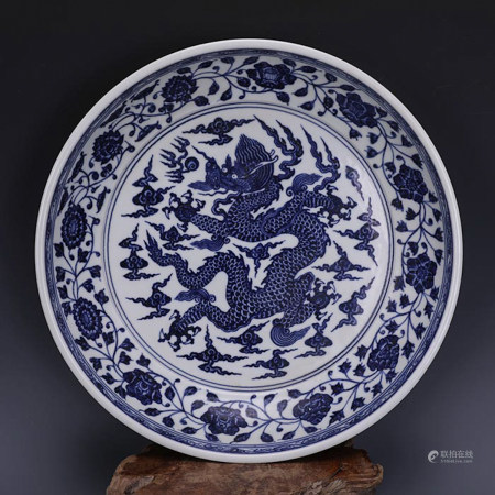 Chinese Blue White Dragon Porcelain Plate