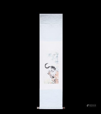Chinese Scroll Painting Xu Beihong-Cat