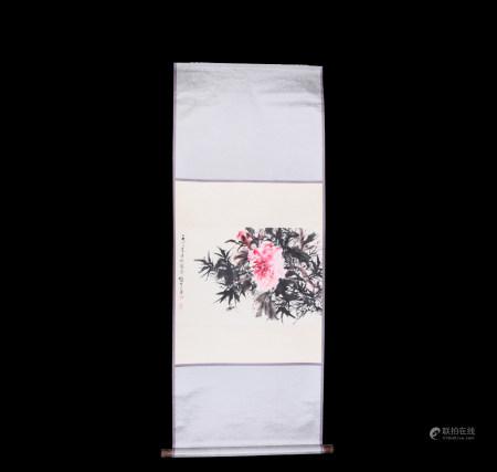 Chinese Scroll Painting Li Xiongcai-Peony