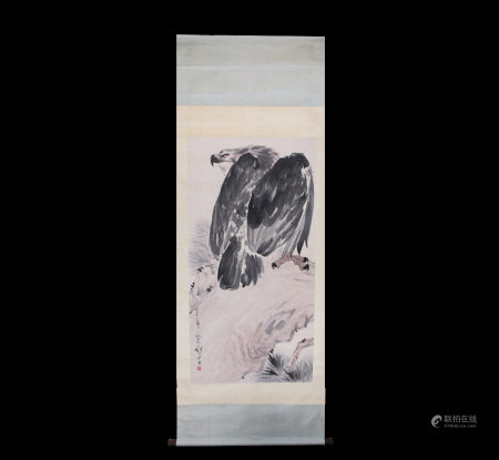Chinese Scroll Painting Liu Jiy You-Eagle