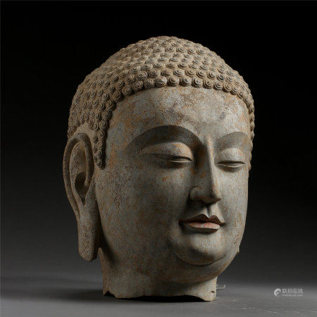 ANCIENT CHINESE BLUESTONE CARVED BUDDHA HEAD