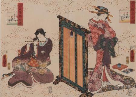 A Japanese Woodblock Diptych Print by Utagawa Kunisada (1786
