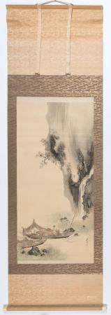 Shibata Zeshin Japanese, 1807-1891 Fishermen Near a Waterfal