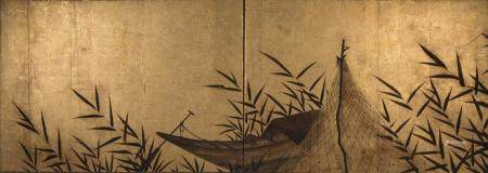 Japanese Two-Panel Tea Ceremony Screen