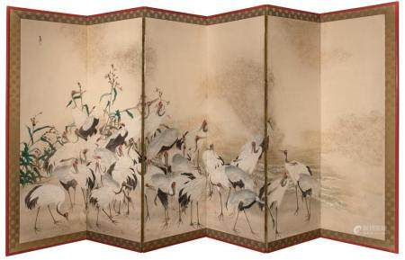 A Japanese Six-Fold Byobu Screen