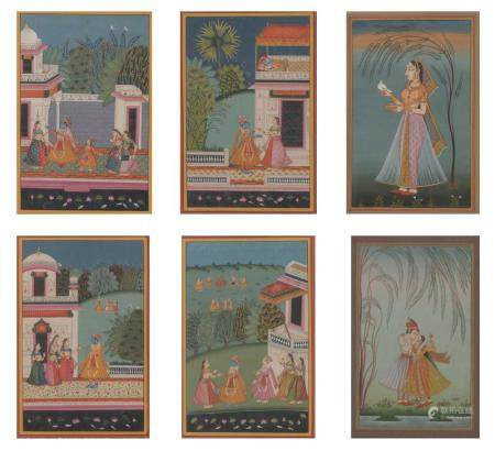 Six Framed Indian Gouache on Paper Paintings