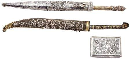 An Indo- Persian Silver and Gilt Knife and Silver Utensil Se